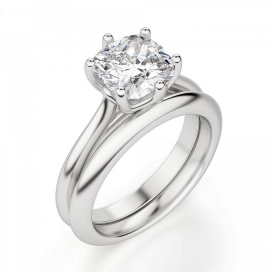 Кольцо из белого золота с бриллиантом кушон,  Больше Изображение 4