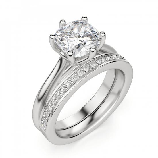 Кольцо из белого золота с бриллиантом кушон,  Больше Изображение 5