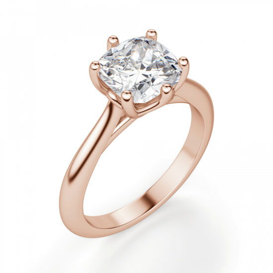 Кольцо с бриллиантом кушон в 6 крапанах,  Больше Изображение 3