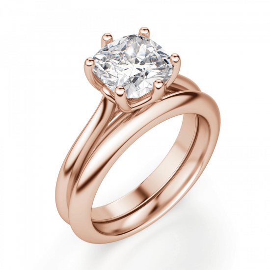 Кольцо с бриллиантом кушон в 6 крапанах,  Больше Изображение 4