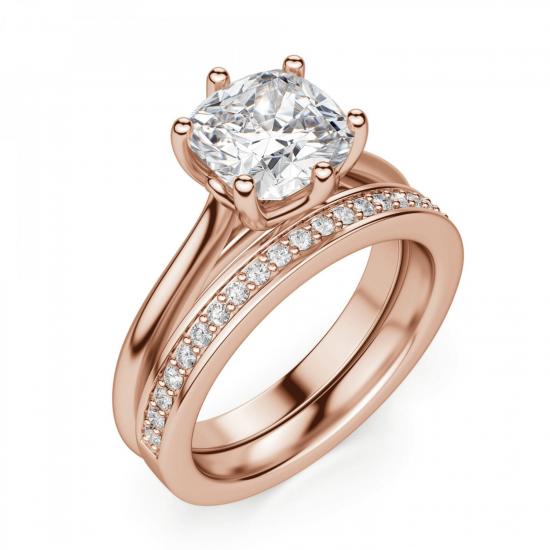 Кольцо с бриллиантом кушон в 6 крапанах,  Больше Изображение 5