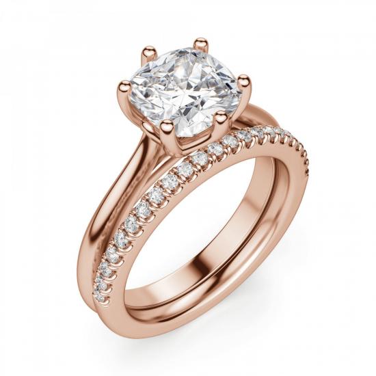 Кольцо с бриллиантом кушон в 6 крапанах,  Больше Изображение 6