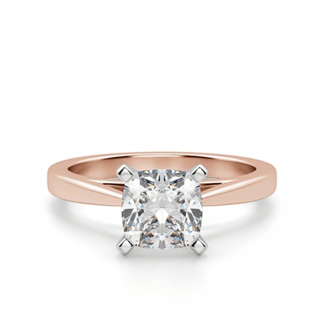 Кольцо из розового золота с бриллиантом кушон