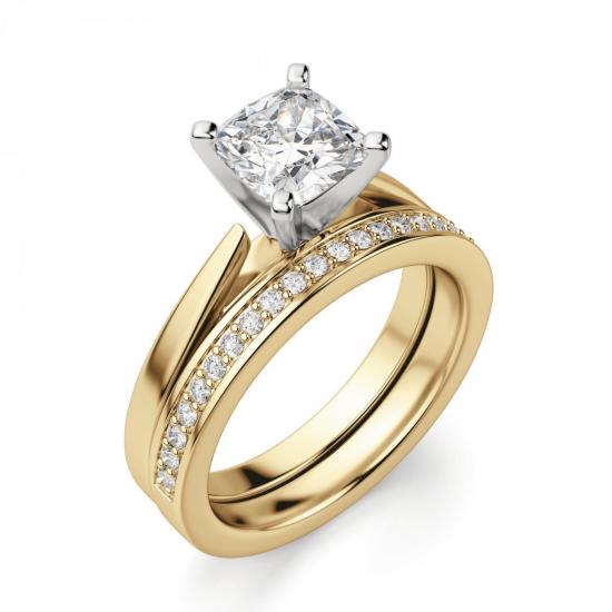 Кольцо из золота с бриллиантом кушон,  Больше Изображение 5