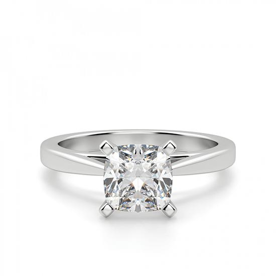 Кольцо с бриллиантом кушон из белого золота, Больше Изображение 1