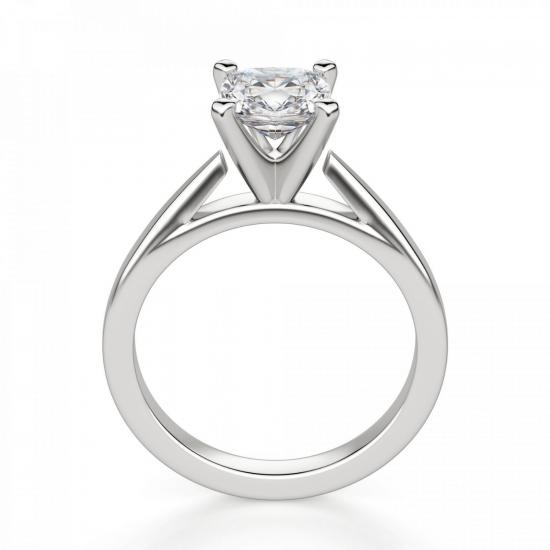 Кольцо с бриллиантом кушон из белого золота,  Больше Изображение 2