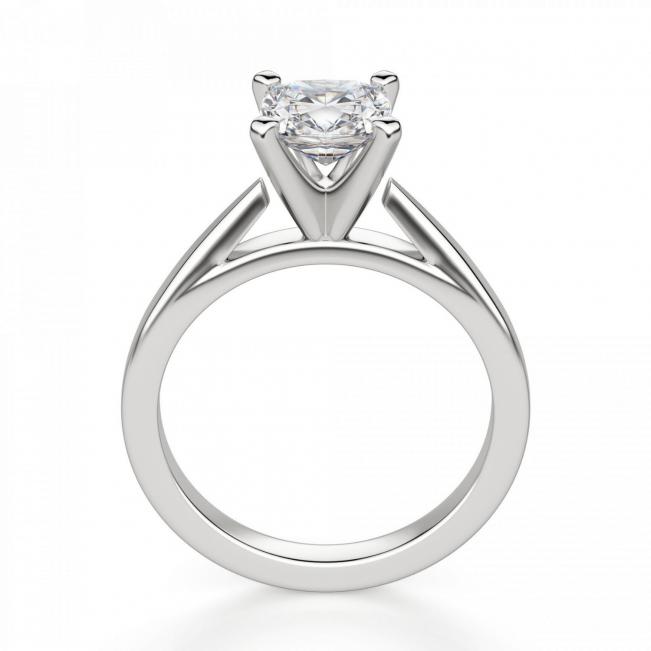 Кольцо с бриллиантом кушон из белого золота - Фото 1