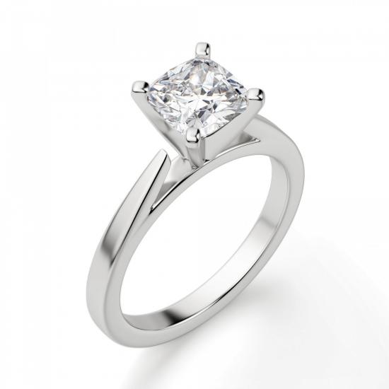 Кольцо с бриллиантом кушон из белого золота,  Больше Изображение 3