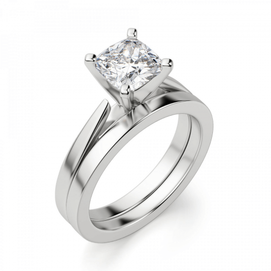 Кольцо с бриллиантом кушон из белого золота,  Больше Изображение 4