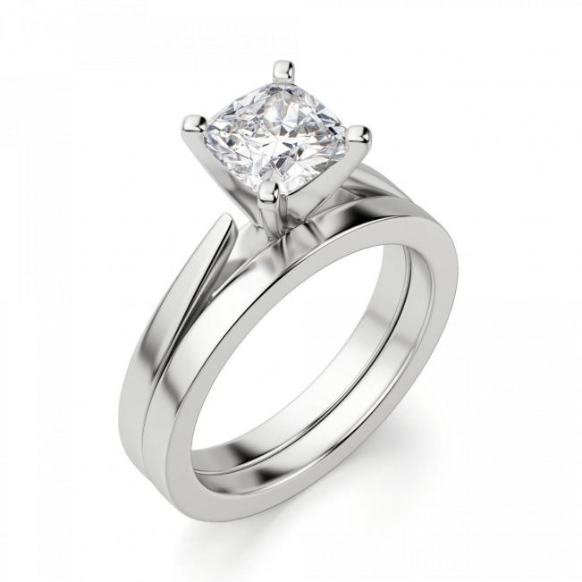 Кольцо с бриллиантом кушон из белого золота - Фото 3