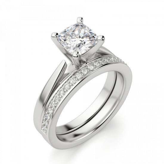 Кольцо с бриллиантом кушон из белого золота,  Больше Изображение 5