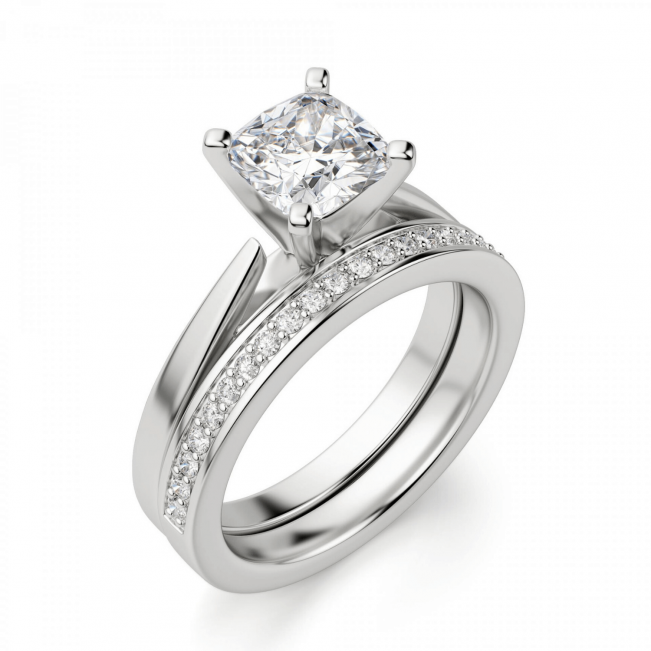 Кольцо с бриллиантом кушон из белого золота - Фото 4
