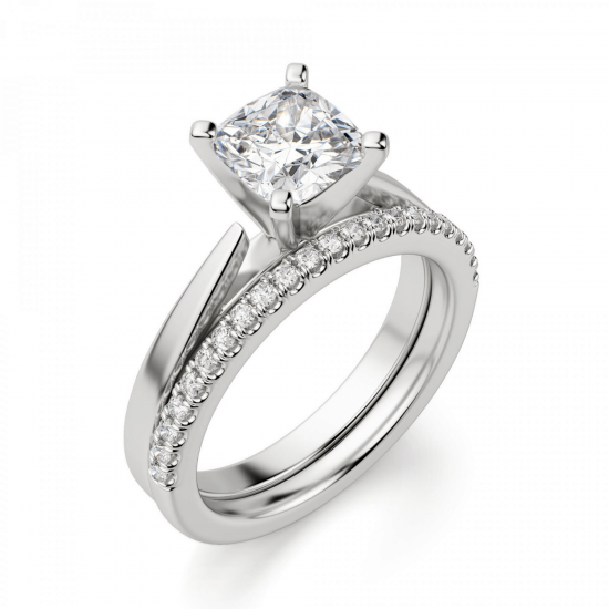 Кольцо с бриллиантом кушон из белого золота,  Больше Изображение 6