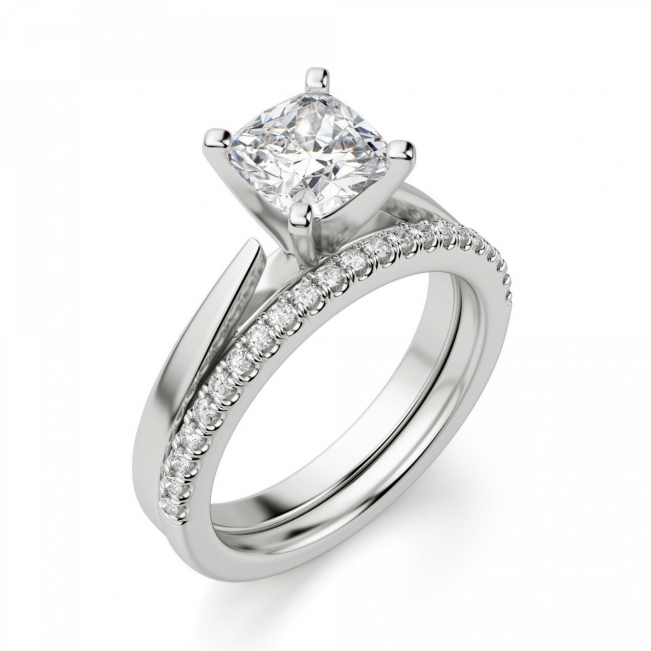Кольцо с бриллиантом кушон из белого золота