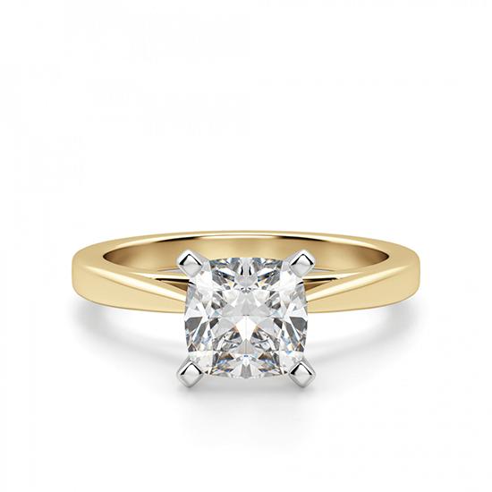 Кольцо из золота с бриллиантом кушон, Больше Изображение 1