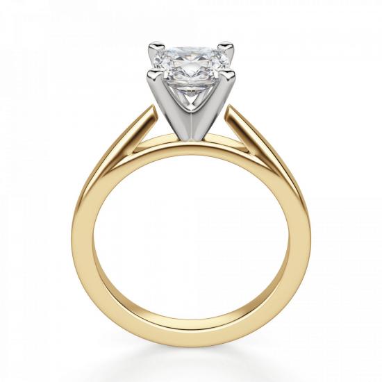 Кольцо из золота с бриллиантом кушон,  Больше Изображение 2