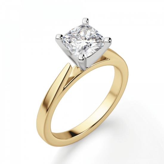 Кольцо из золота с бриллиантом кушон,  Больше Изображение 3