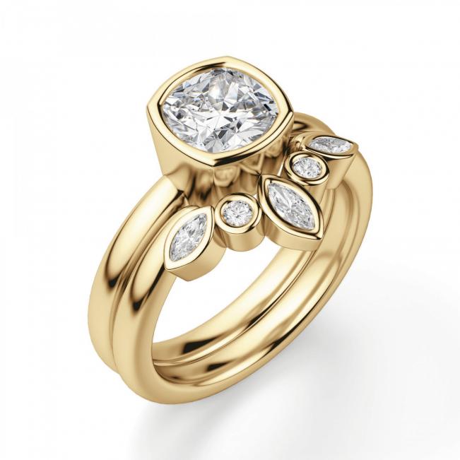 Кольцо с бриллиантом кушон в грухой закрепке из золота - Фото 4