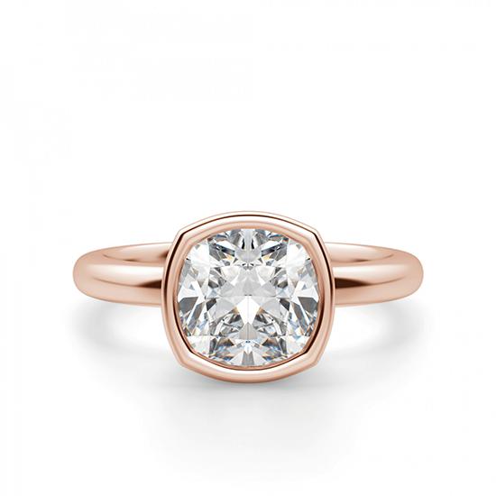 Кольцо с бриллиантом кушон в розовом золоте, Больше Изображение 1