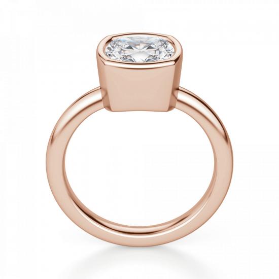 Кольцо с бриллиантом кушон в розовом золоте,  Больше Изображение 2