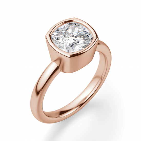 Кольцо с бриллиантом кушон в розовом золоте,  Больше Изображение 3