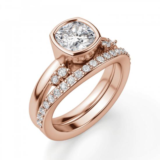 Кольцо с бриллиантом кушон в розовом золоте,  Больше Изображение 4