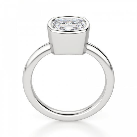 Кольцо с бриллиантом кушон из белого золота в глухой закрепке,  Больше Изображение 2