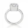 Кольцо с бриллиантом кушон из белого золота в глухой закрепке, Изображение 2