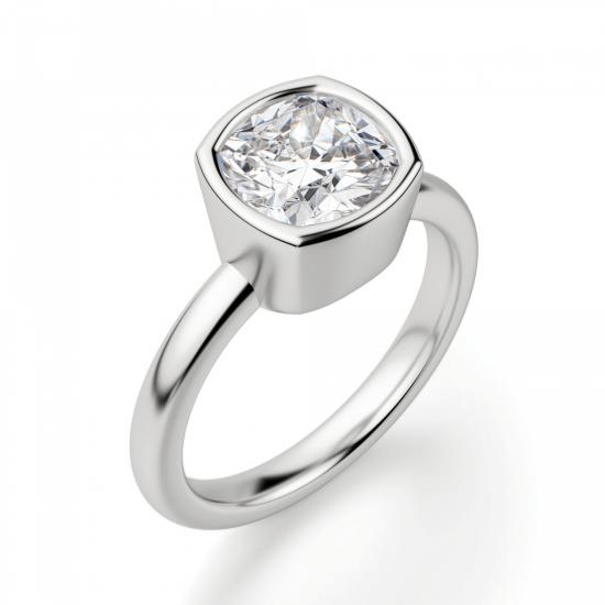 Кольцо с бриллиантом кушон из белого золота в глухой закрепке,  Больше Изображение 3