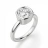 Кольцо с бриллиантом кушон из белого золота в глухой закрепке, Изображение 3