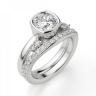 Кольцо с бриллиантом кушон из белого золота в глухой закрепке, Изображение 4