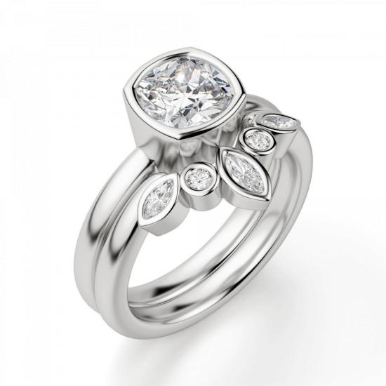 Кольцо с бриллиантом кушон из белого золота в глухой закрепке,  Больше Изображение 5