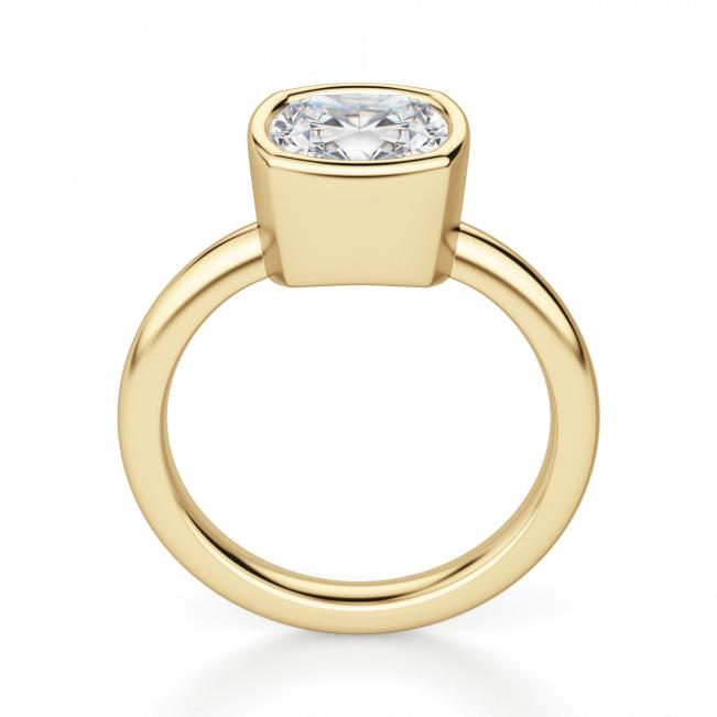 Кольцо с бриллиантом кушон в грухой закрепке из золота - Фото 1