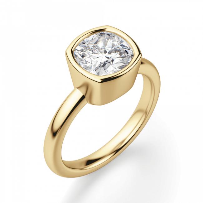 Кольцо с бриллиантом кушон в грухой закрепке из золота - Фото 2