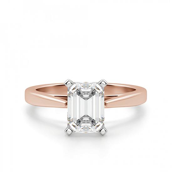 Кольцо с бриллиантом эмеральд из розового золота, Больше Изображение 1