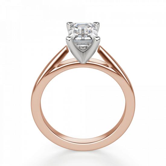Кольцо с бриллиантом эмеральд из розового золота,  Больше Изображение 2