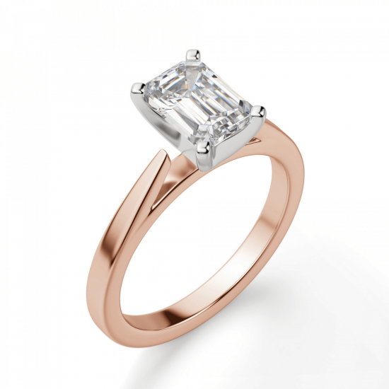 Кольцо с бриллиантом эмеральд из розового золота,  Больше Изображение 3