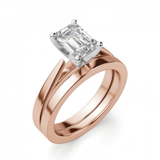 Кольцо с бриллиантом эмеральд из розового золота,  Больше Изображение 4