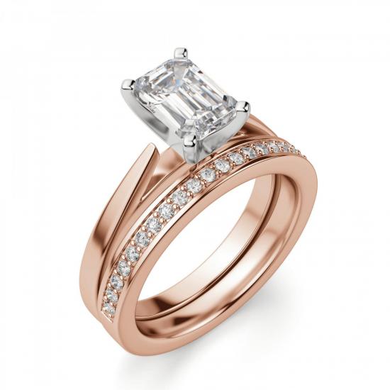Кольцо с бриллиантом эмеральд из розового золота,  Больше Изображение 5