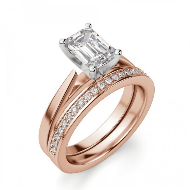 Кольцо с бриллиантом эмеральд из розового золота - Фото 4