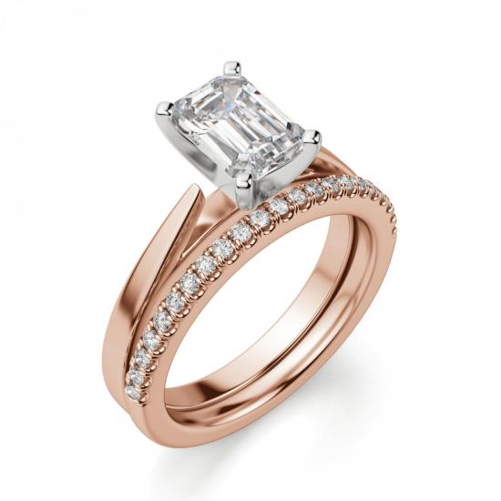 Кольцо с бриллиантом эмеральд из розового золота,  Больше Изображение 6