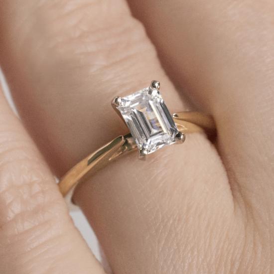 Кольцо с бриллиантом эмеральд из розового золота,  Больше Изображение 7