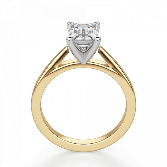 Кольцо с бриллиантом эмеральд из золота,  Больше Изображение 2