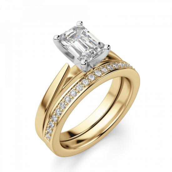 Кольцо с бриллиантом эмеральд из золота,  Больше Изображение 5
