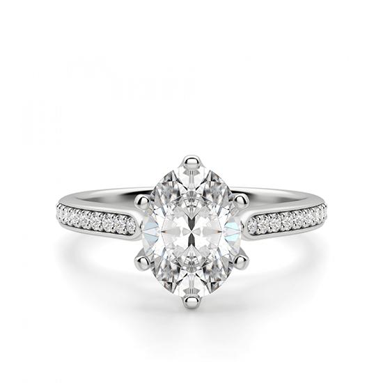 Кольцо с овальным бриллиантом 6 лапок паве, Больше Изображение 1