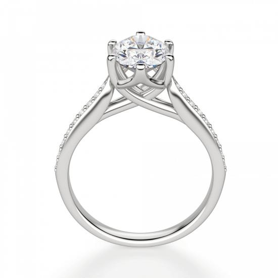 Кольцо с овальным бриллиантом 6 лапок паве,  Больше Изображение 2