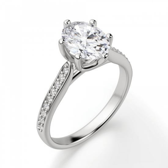Кольцо с овальным бриллиантом 6 лапок паве,  Больше Изображение 3