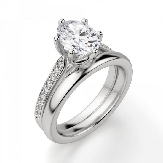 Кольцо с овальным бриллиантом 6 лапок паве,  Больше Изображение 4