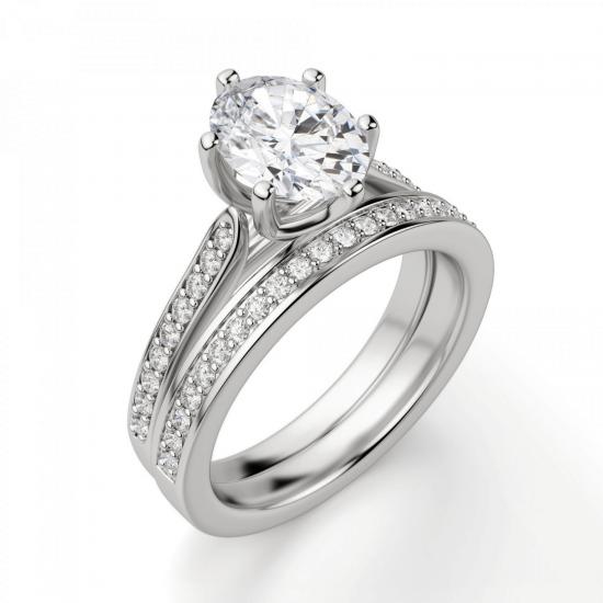 Кольцо с овальным бриллиантом 6 лапок паве,  Больше Изображение 5
