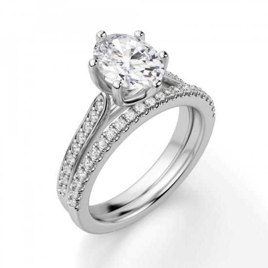 Кольцо с овальным бриллиантом 6 лапок паве,  Больше Изображение 6